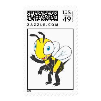 Sello derecho de la mano de la abeja que agita lin