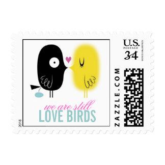 Sello divertido de los pájaros del amor