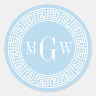 Sello dominante griego azul claro del sobre del pegatina redonda