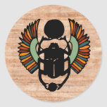 Sello egipcio del escarabajo pegatina redonda