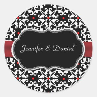 Sello elegante del sobre del boda del damasco etiquetas redondas