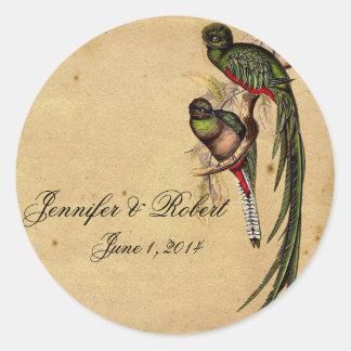 Sello elegante del sobre del pájaro de quetzal del etiqueta redonda
