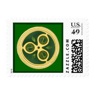 Sello espiral irlandés verde del disco