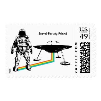Sello extranjero del UFO del astronauta