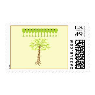 Sello extranjero verde del árbol