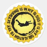 Sello fantástico de Skydiving Pegatina Redonda