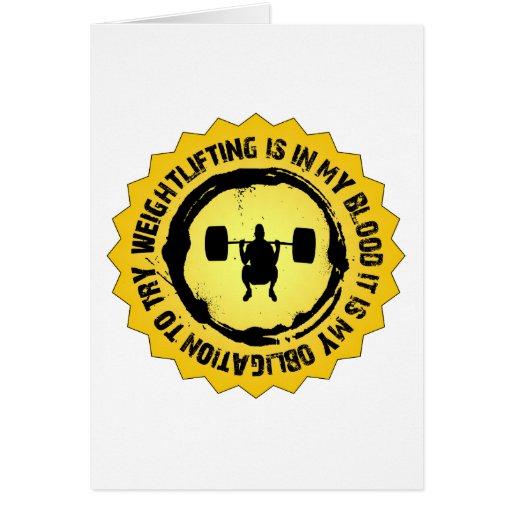 Sello fantástico del levantamiento de pesas tarjeta de felicitación