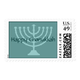 Sello feliz de Chanukkah con el menorah