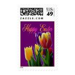 Sello feliz de los tulipanes de Pascua