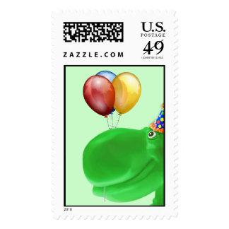 Sello feliz del cumpleaños del verde del hipopótam