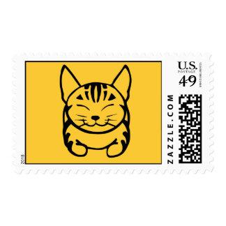 Sello feliz del gato (negro en amarillo)