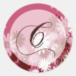 Sello floral caprichoso del sobre del monograma C Pegatinas Redondas