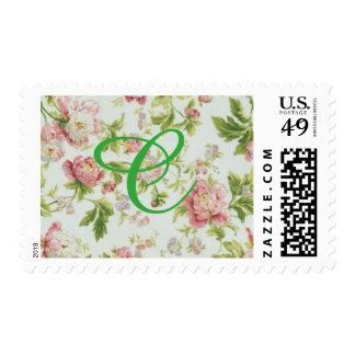 sello floral con el monograma