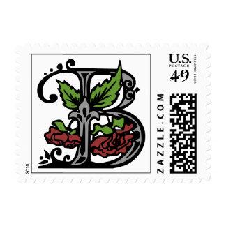 Sello floral de la letra B del monograma