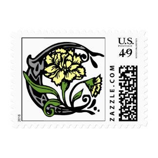 Sello floral de la letra C del monograma