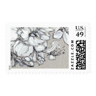 Sello floral de plata