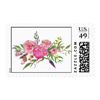 Sello floral del boda de la acuarela colorida