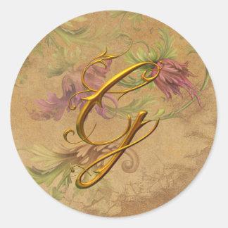 Sello floral del boda del monograma de G del oro Pegatina Redonda