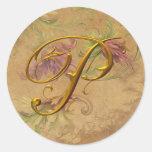 Sello floral del boda del monograma del oro P del Pegatina Redonda