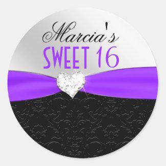 Sello floral negro púrpura del corazón del pegatina redonda