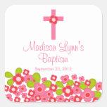 Sello floral rosado cruzado dulce del favor del pegatina cuadradas personalizada