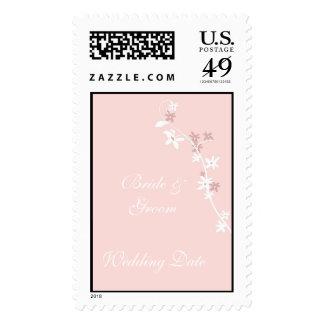Sello floral rosado del boda del fondo