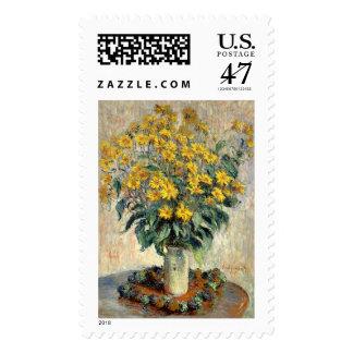 Sello, flores de la alcachofa de Claude Monet Sellos Postales