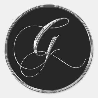 Sello formal de G del monograma de la plata y del Pegatina Redonda