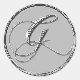 Sello formal de plata de G del monograma del boda Pegatina Redonda