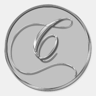 Sello formal de plata del monograma C del boda Pegatina Redonda