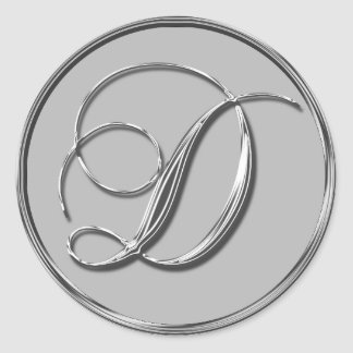 Sello formal de plata del monograma D del boda Etiquetas