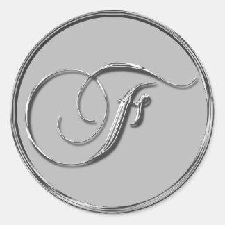 Sello formal de plata del monograma F del boda Pegatina Redonda