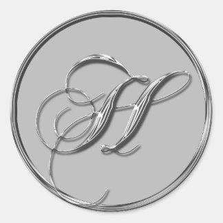 Sello formal de plata del monograma H del boda Pegatina Redonda