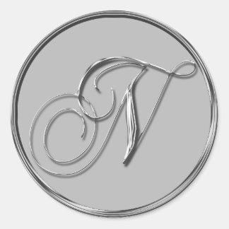 Sello formal de plata del monograma N del boda Pegatina Redonda