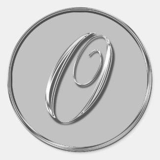 Sello formal de plata del monograma O del boda Pegatina Redonda