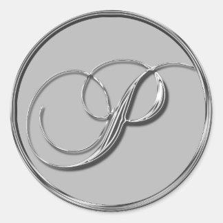 Sello formal de plata del monograma P del boda Etiquetas