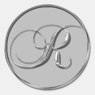 Sello formal de plata del monograma R del boda con Pegatina Redonda