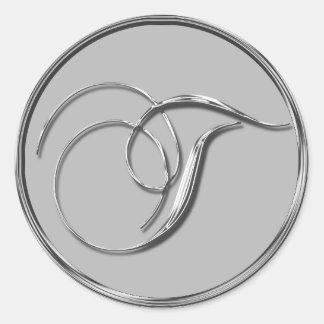Sello formal de plata del monograma T del boda Pegatina Redonda