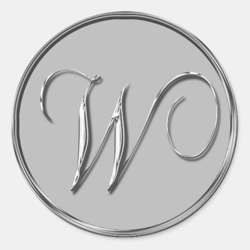 Sello formal de plata del monograma W del boda Etiquetas Redondas