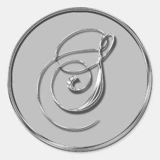 Sello formal de plata RSVP del monograma S del Pegatina Redonda
