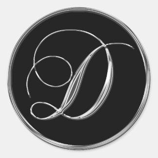 Sello formal negro de plata del monograma D del Pegatina Redonda