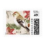 sello francés del pájaro del navidad del vintage