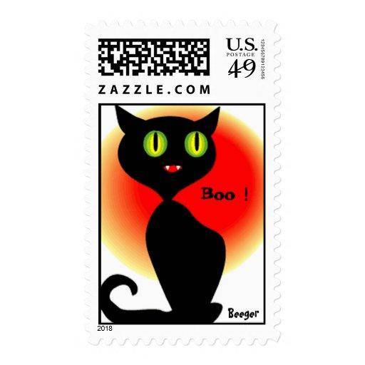 Sello (franqueo) - gato negro de Halloween