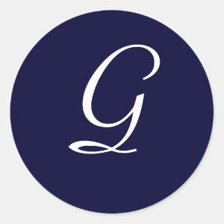 """Sello """"G """" de la inicial del monograma de los Pegatina Redonda"""