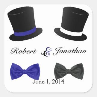 Sello gay azul del sobre del boda de las pajaritas pegatina cuadrada