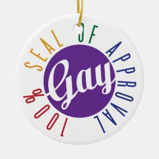 Sello gay del ornamento de la aprobación adorno navideño redondo de cerámica
