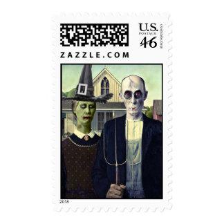 Sello gótico americano del vampiro y de la bruja