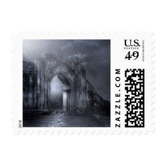 Sello gótico oscuro de la arcada de las ruinas