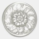 Sello grabado en relieve Barroco blanco de la Pegatina Redonda