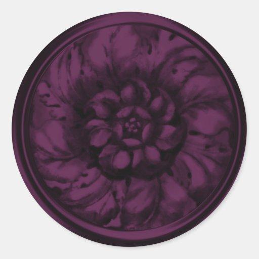 Sello grabado en relieve Barroco de la mirada del Pegatina Redonda